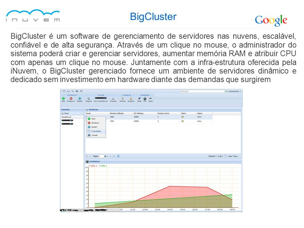 BigCluster BigCluster é um software de gerenciamento de servidores nas nuvens, escalável, confiável e de alta segurança. Através de um clique no mouse