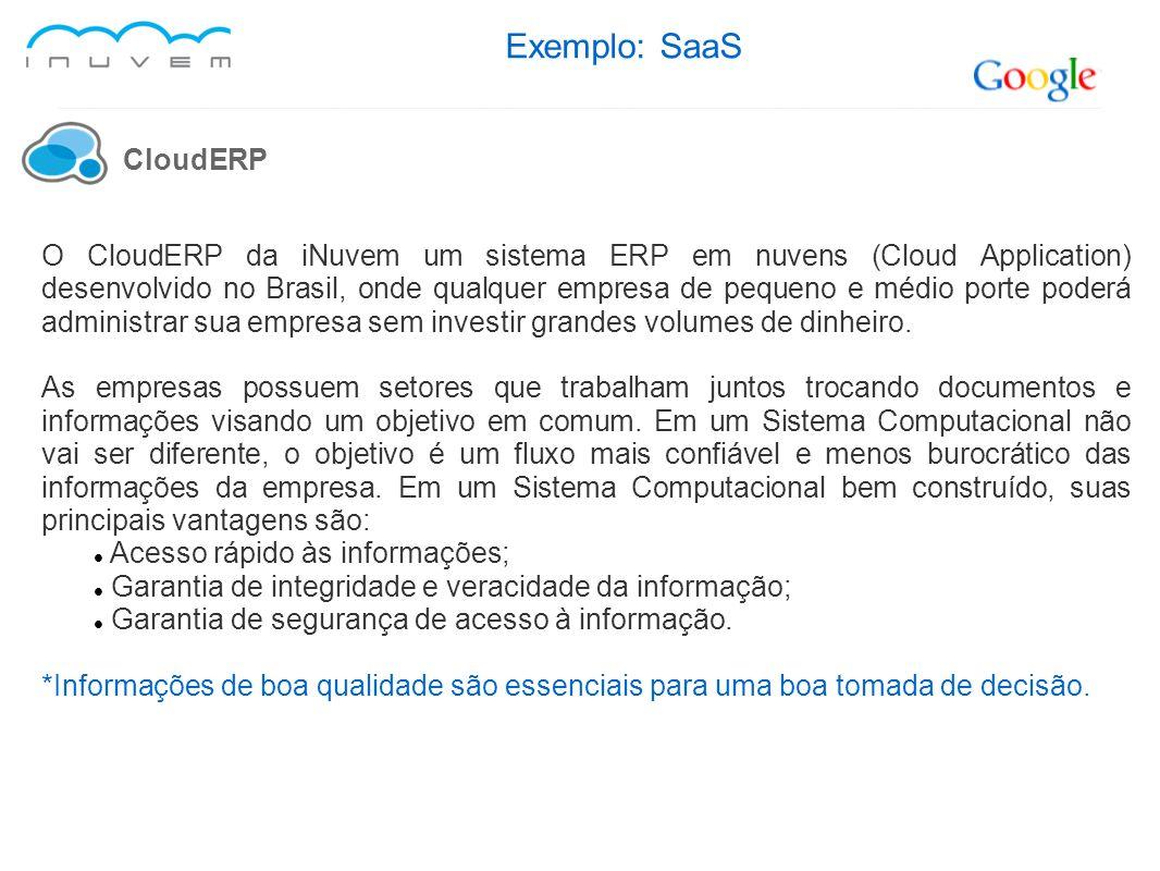 Exemplo: SaaS CloudERP O CloudERP da iNuvem um sistema ERP em nuvens (Cloud Application) desenvolvido no Brasil, onde qualquer empresa de pequeno e mé