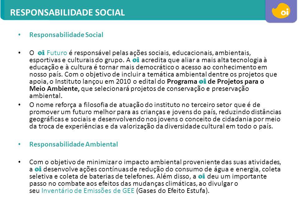 Responsabilidade Social O oi Futuro é responsável pelas ações sociais, educacionais, ambientais, esportivas e culturais do grupo. A oi acredita que al