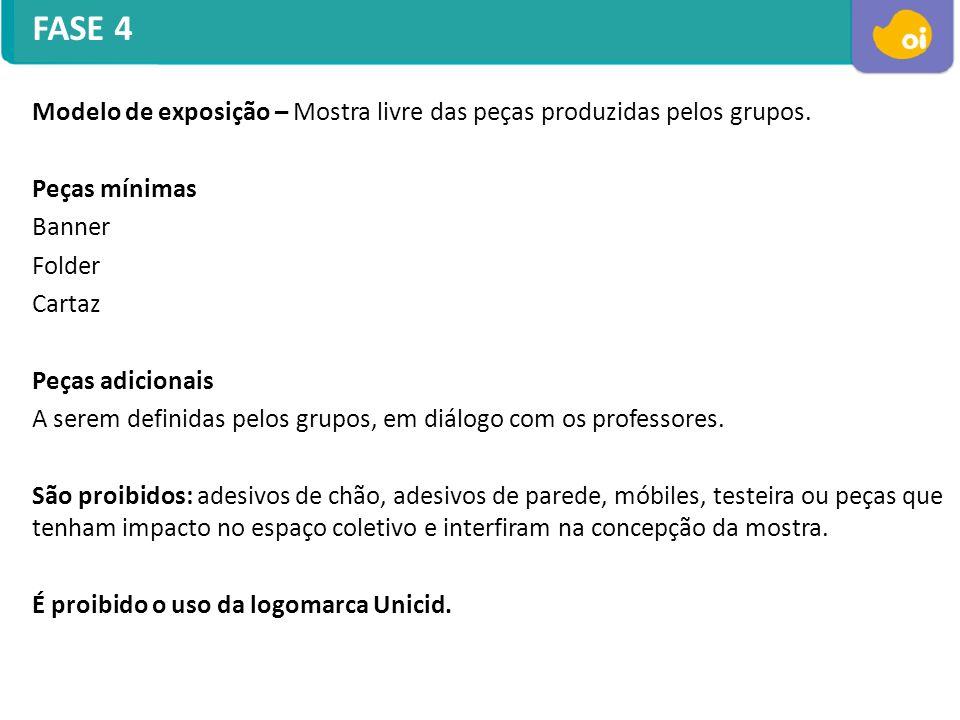 FASE 4 Modelo de exposição – Mostra livre das peças produzidas pelos grupos. Peças mínimas Banner Folder Cartaz Peças adicionais A serem definidas pel