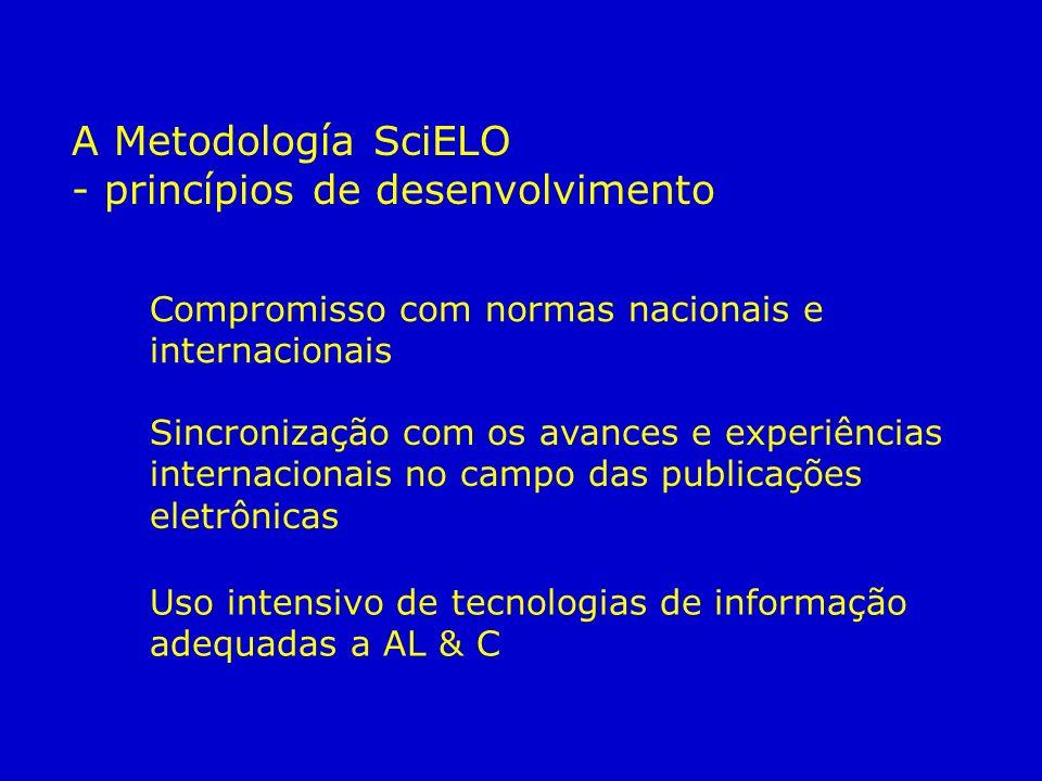 Compromisso com normas nacionais e internacionais Sincronização com os avances e experiências internacionais no campo das publicações eletrônicas Uso intensivo de tecnologias de informação adequadas a AL & C A Metodología SciELO - princípios de desenvolvimento