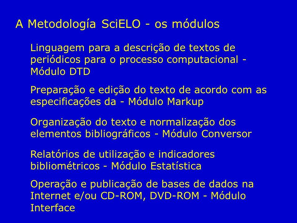 Linguagem para a descrição de textos de periódicos para o processo computacional - Módulo DTD Relatórios de utilização e indicadores bibliométricos -