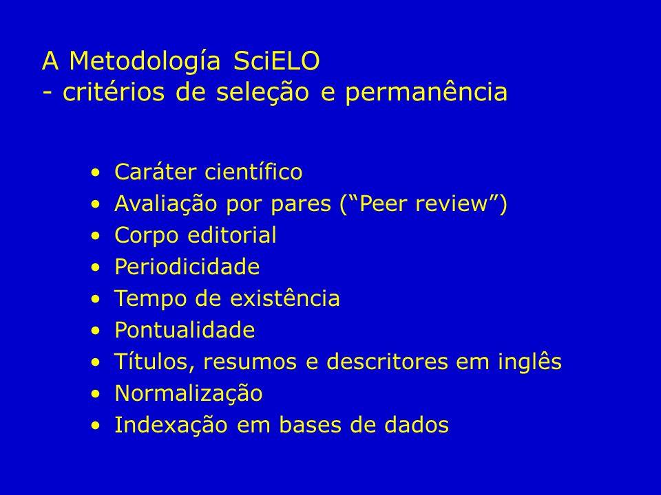 Caráter científico Avaliação por pares (Peer review) Corpo editorial Periodicidade Tempo de existência Pontualidade Títulos, resumos e descritores em