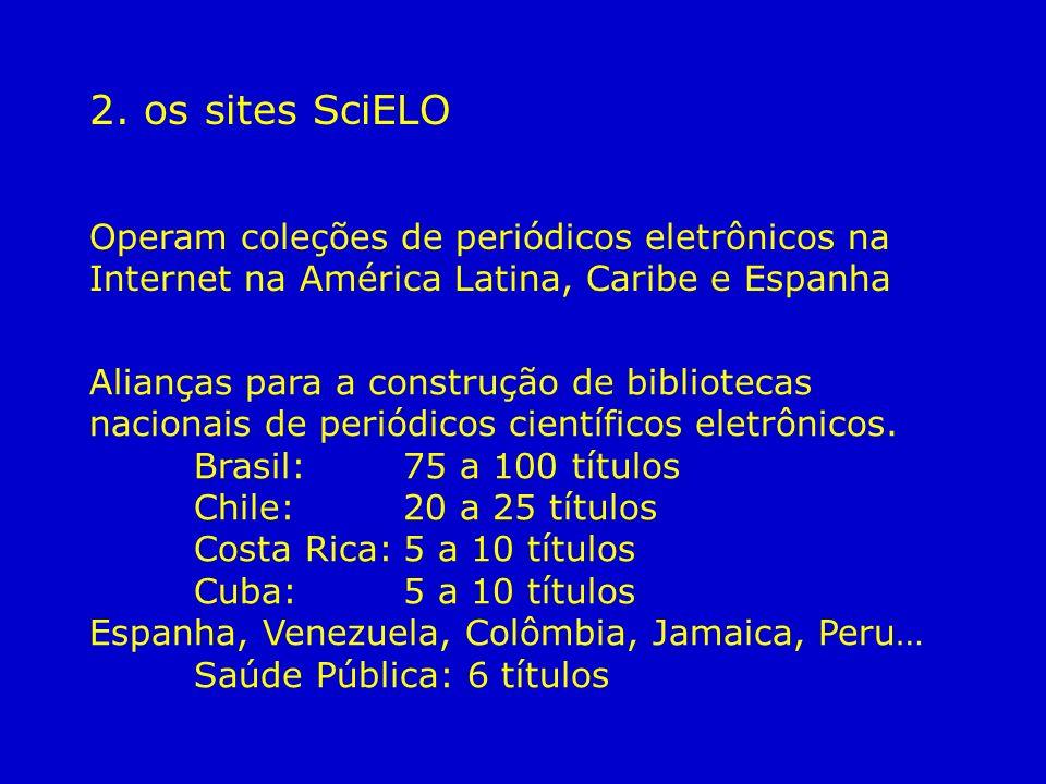 2. os sites SciELO Operam coleções de periódicos eletrônicos na Internet na América Latina, Caribe e Espanha Alianças para a construção de bibliotecas