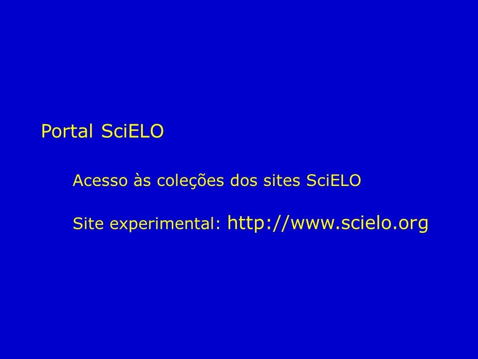 Portal SciELO Acesso às coleções dos sites SciELO Site experimental: http://www.scielo.org