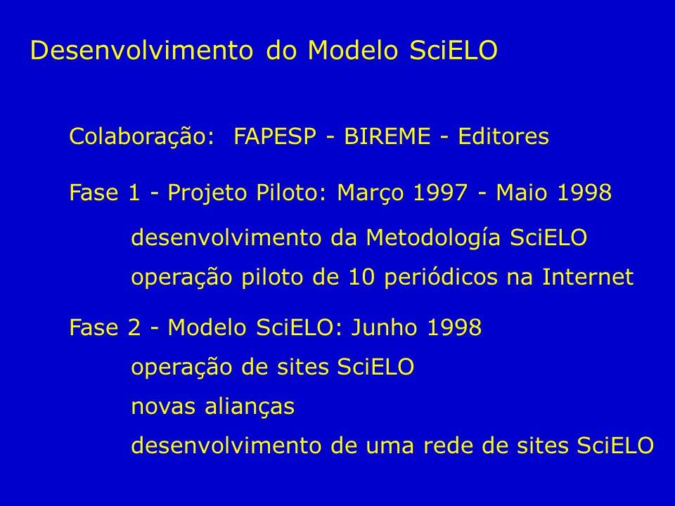 Colaboração: FAPESP - BIREME - Editores Fase 1 - Projeto Piloto: Março 1997 - Maio 1998 desenvolvimento da Metodología SciELO operação piloto de 10 pe