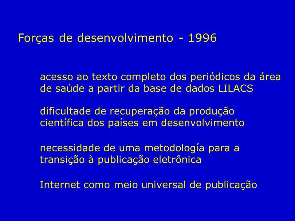 Forças de desenvolvimento - 1996 acesso ao texto completo dos periódicos da área de saúde a partir da base de dados LILACS dificultade de recuperação da produção científica dos países em desenvolvimento necessidade de uma metodología para a transição à publicação eletrônica Internet como meio universal de publicação