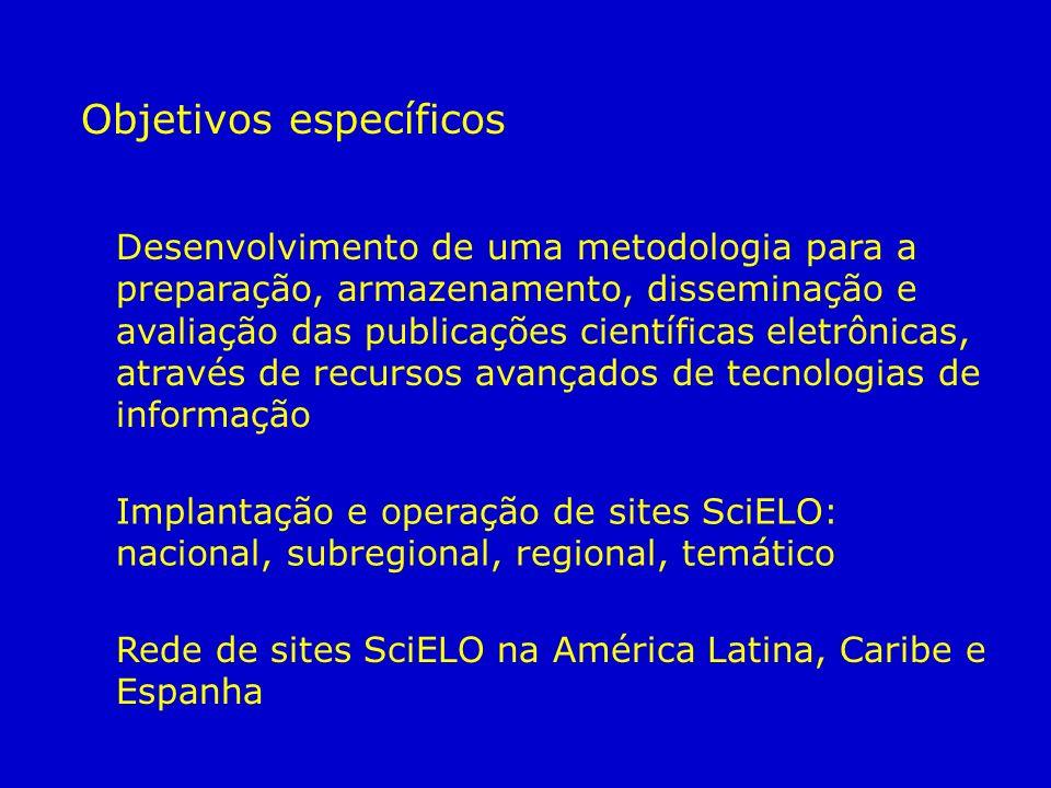 Objetivos específicos Desenvolvimento de uma metodologia para a preparação, armazenamento, disseminação e avaliação das publicações científicas eletrô