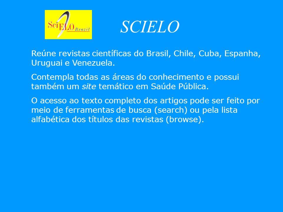 SCIELO Reúne revistas científicas do Brasil, Chile, Cuba, Espanha, Uruguai e Venezuela. Contempla todas as áreas do conhecimento e possui também um si