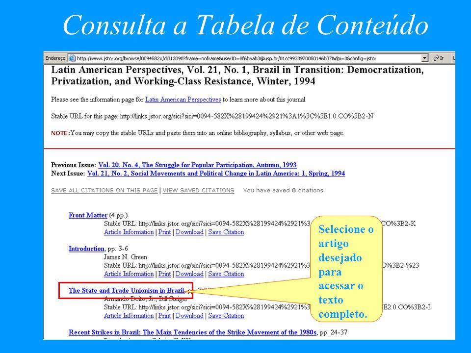 Consulta a Tabela de Conteúdo Selecione o artigo desejado para acessar o texto completo.