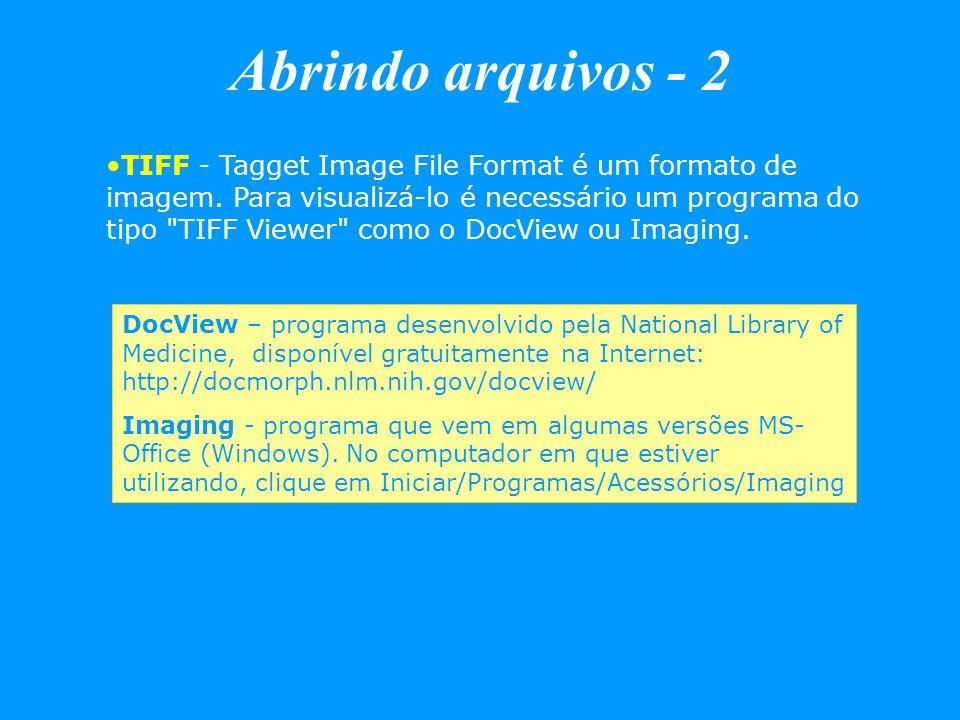 Abrindo arquivos - 2 TIFF - Tagget Image File Format é um formato de imagem. Para visualizá-lo é necessário um programa do tipo