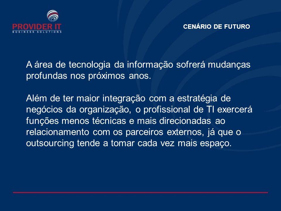 CENÁRIO DE FUTURO A área de tecnologia da informação sofrerá mudanças profundas nos próximos anos.