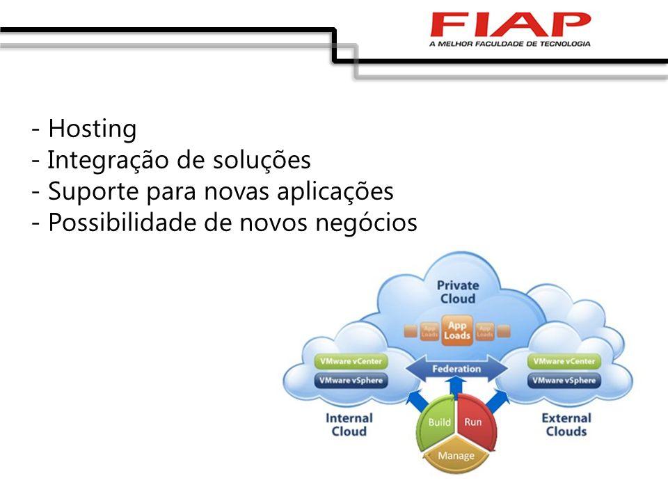 - Hosting - Integração de soluções - Suporte para novas aplicações - Possibilidade de novos negócios