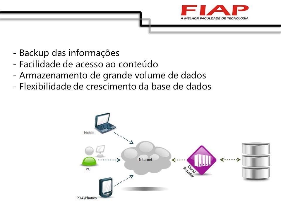 - Backup das informações - Facilidade de acesso ao conteúdo - Armazenamento de grande volume de dados - Flexibilidade de crescimento da base de dados