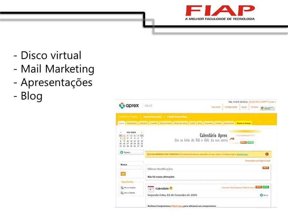 - Disco virtual - Mail Marketing - Apresentações - Blog