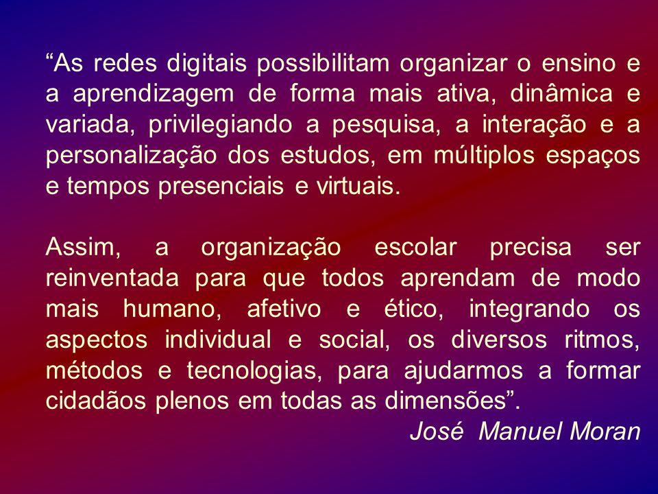 As redes digitais possibilitam organizar o ensino e a aprendizagem de forma mais ativa, dinâmica e variada, privilegiando a pesquisa, a interação e a