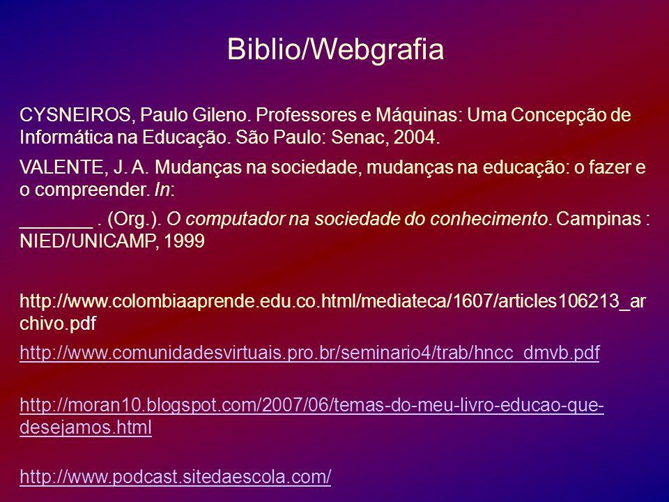 Biblio/Webgrafia CYSNEIROS, Paulo Gileno. Professores e Máquinas: Uma Concepção de Informática na Educação. São Paulo: Senac, 2004. VALENTE, J. A. Mud
