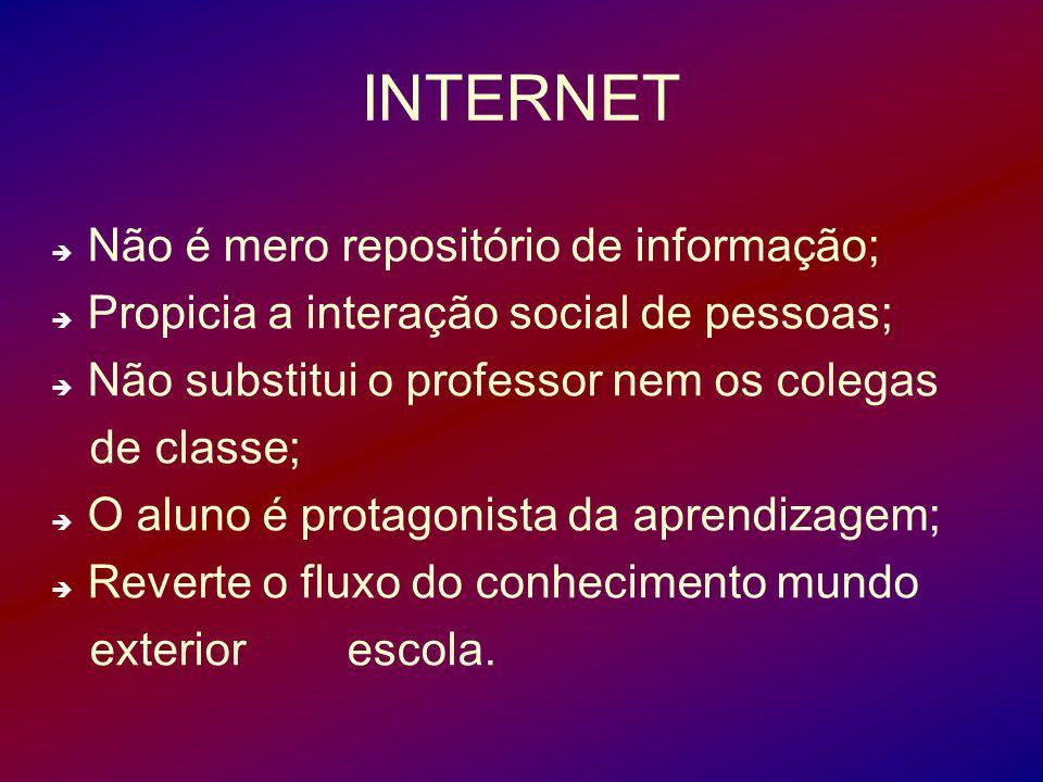 INTERNET Não é mero repositório de informação; Propicia a interação social de pessoas; Não substitui o professor nem os colegas de classe; O aluno é p