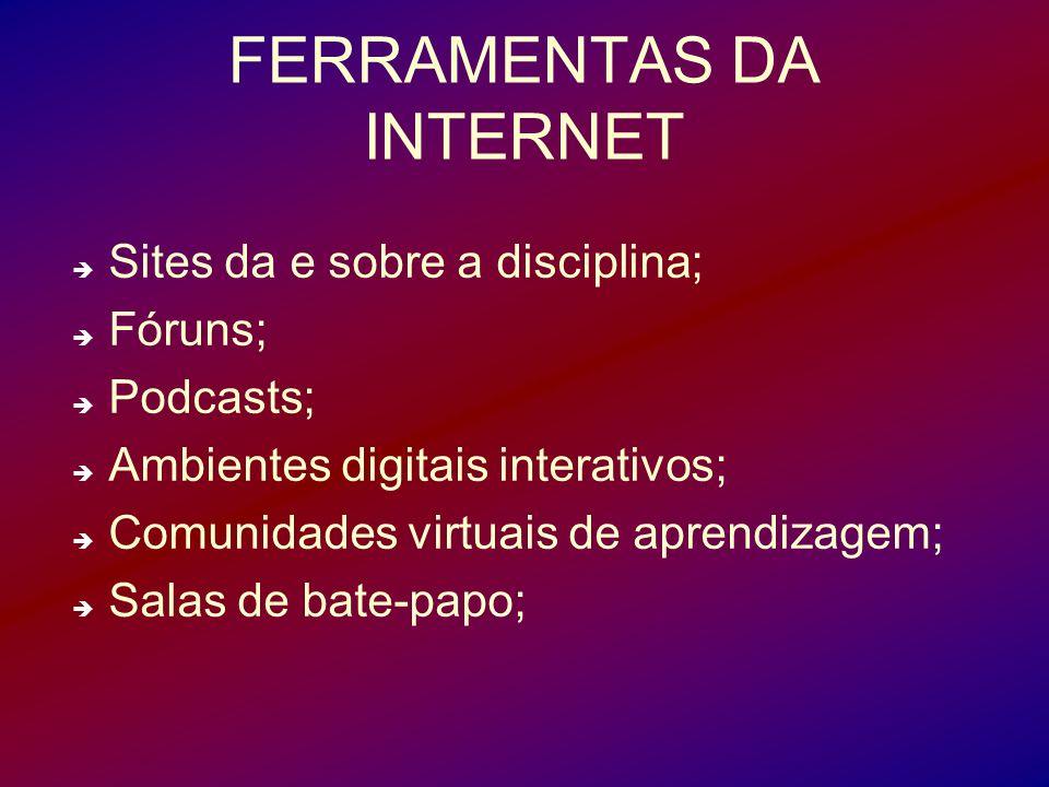 FERRAMENTAS DA INTERNET Sites da e sobre a disciplina; Fóruns; Podcasts; Ambientes digitais interativos; Comunidades virtuais de aprendizagem; Salas d