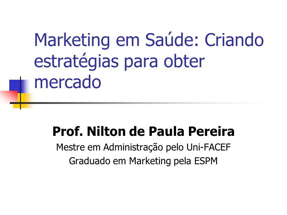 Marketing em Saúde: Criando estratégias para obter mercado Prof. Nilton de Paula Pereira Mestre em Administração pelo Uni-FACEF Graduado em Marketing