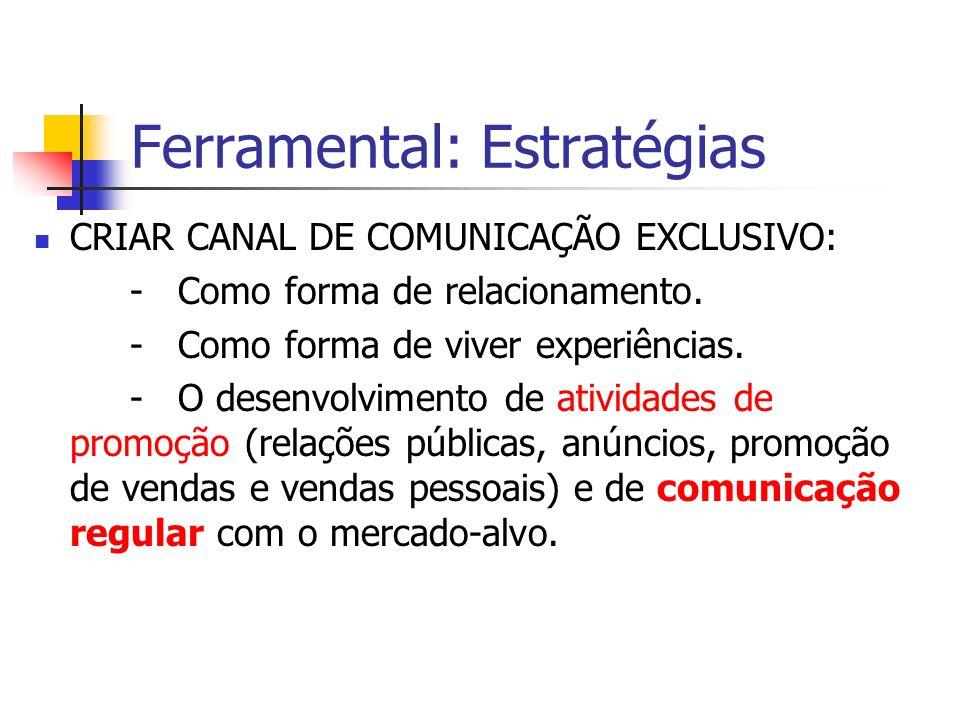 Ferramental: Estratégias CRIAR CANAL DE COMUNICAÇÃO EXCLUSIVO: - Como forma de relacionamento. - Como forma de viver experiências. - O desenvolvimento
