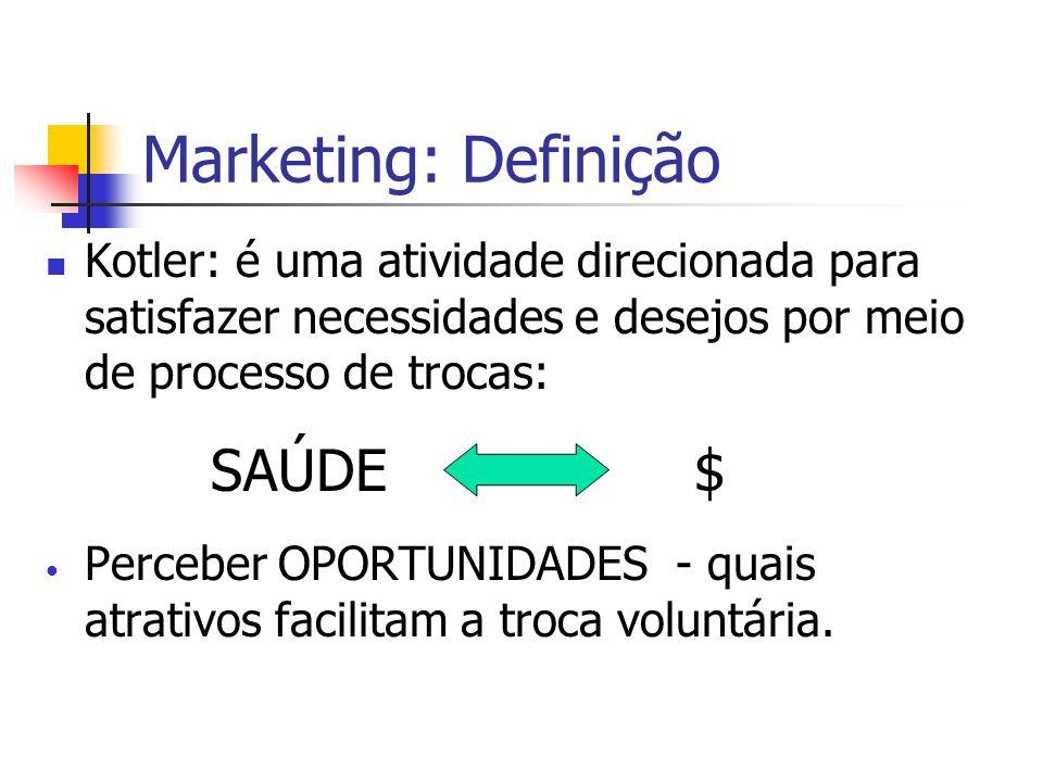 Marketing: Definição Kotler: é uma atividade direcionada para satisfazer necessidades e desejos por meio de processo de trocas: SAÚDE $ Perceber OPORT