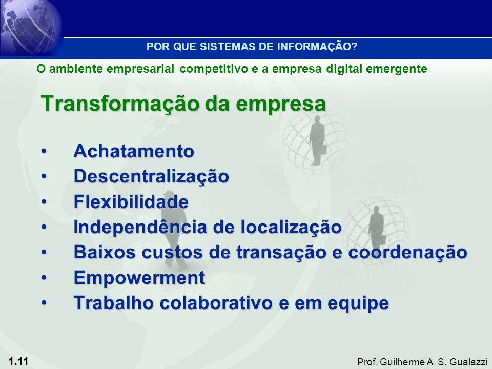1.11 Prof. Guilherme A. S. Gualazzi Transformação da empresa AchatamentoAchatamento DescentralizaçãoDescentralização FlexibilidadeFlexibilidade Indepe