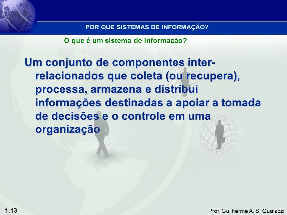 1.13 Prof. Guilherme A. S. Gualazzi Um conjunto de componentes inter- relacionados que coleta (ou recupera), processa, armazena e distribui informaçõe