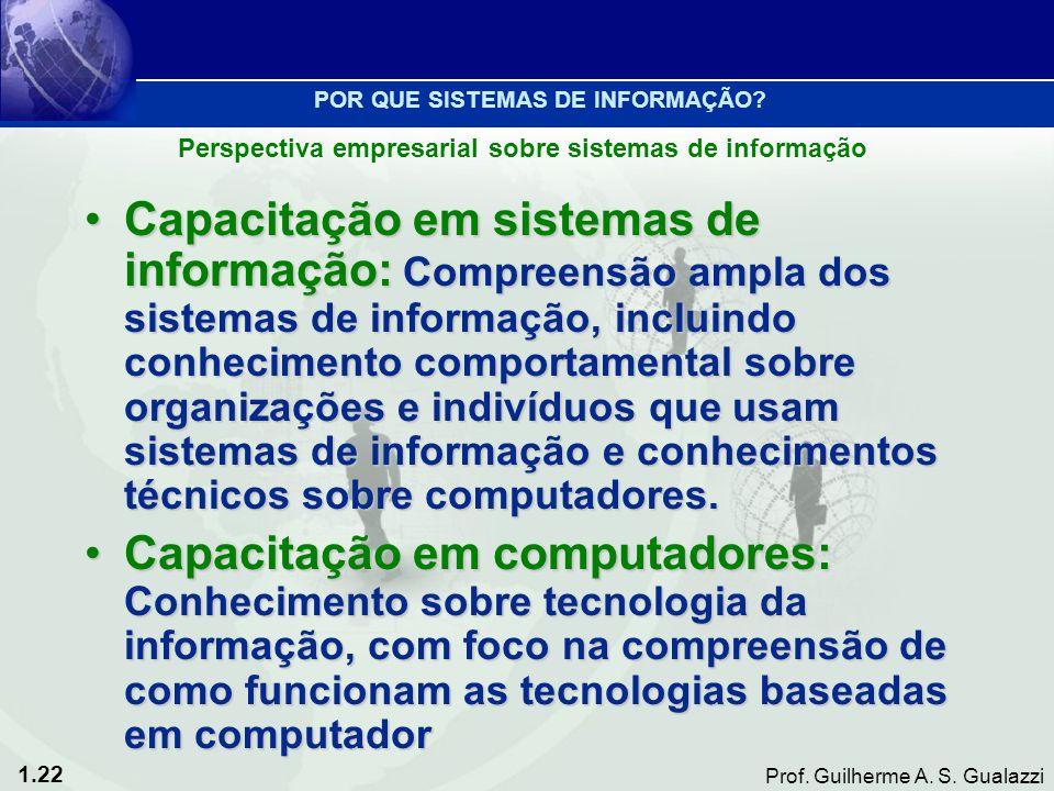 1.22 Prof. Guilherme A. S. Gualazzi Capacitação em sistemas de informação: Compreensão ampla dos sistemas de informação, incluindo conhecimento compor