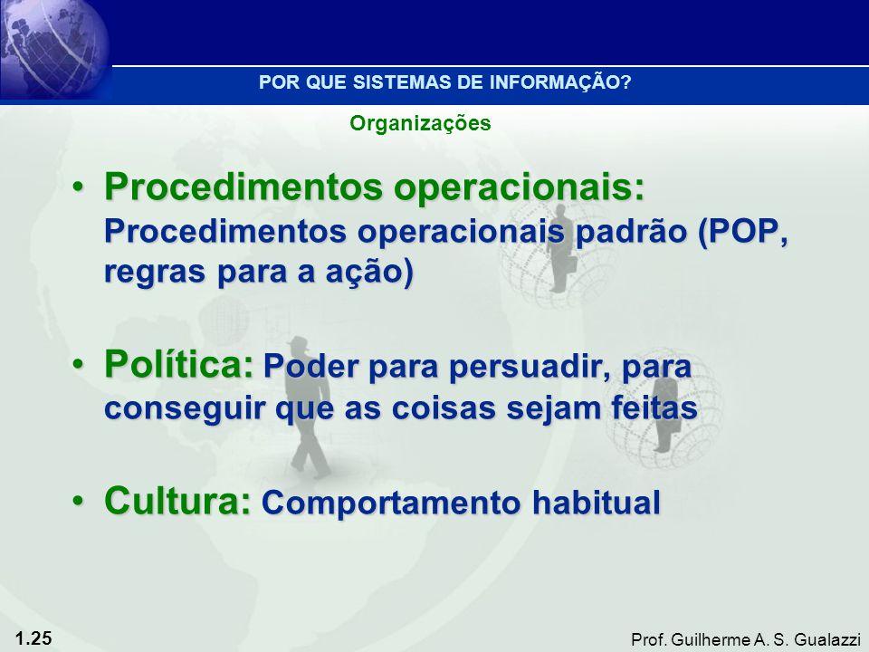 1.25 Prof. Guilherme A. S. Gualazzi Procedimentos operacionais: Procedimentos operacionais padrão (POP, regras para a ação)Procedimentos operacionais: