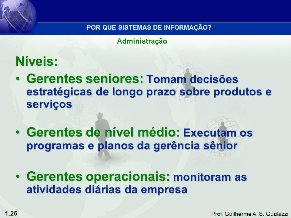 1.26 Prof. Guilherme A. S. Gualazzi Níveis: Gerentes seniores: Tomam decisões estratégicas de longo prazo sobre produtos e serviçosGerentes seniores: