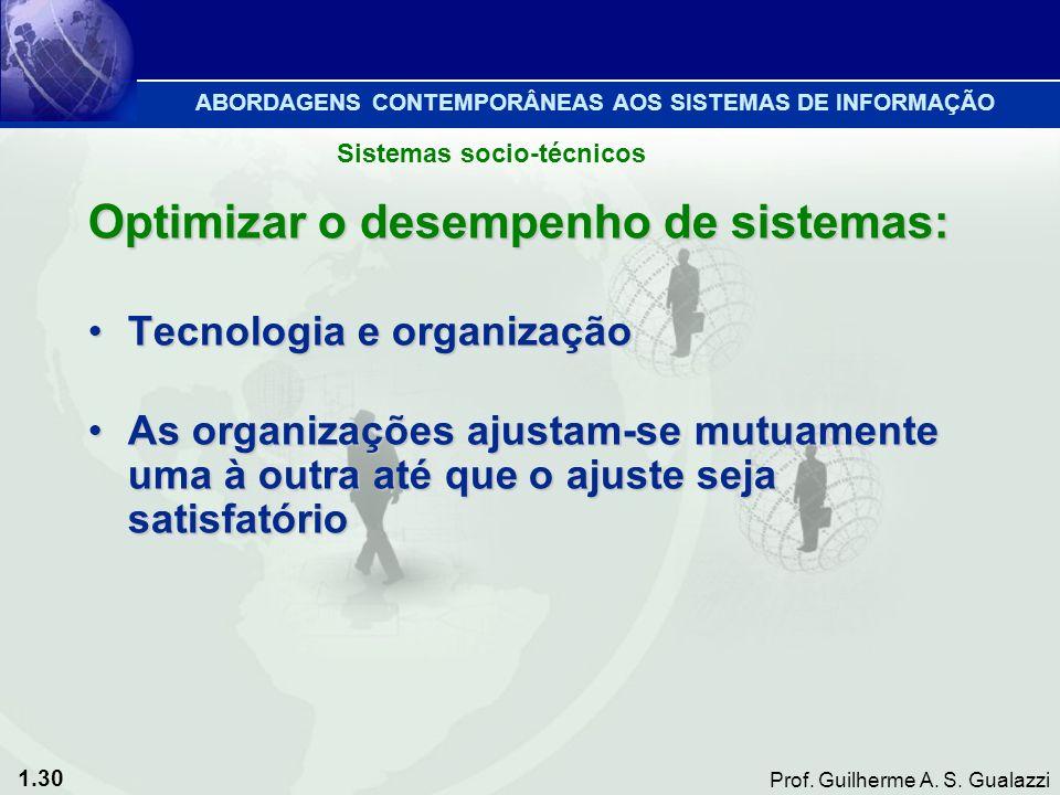 1.30 Prof. Guilherme A. S. Gualazzi Optimizar o desempenho de sistemas: Tecnologia e organizaçãoTecnologia e organização As organizações ajustam-se mu