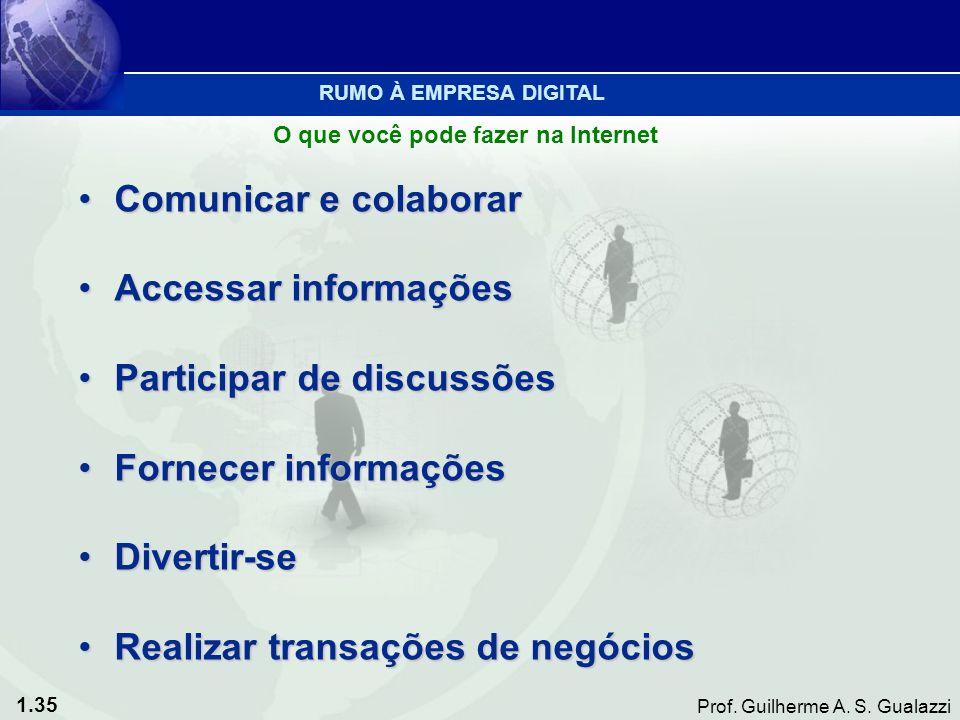 1.35 Prof. Guilherme A. S. Gualazzi Comunicar e colaborarComunicar e colaborar Accessar informaçõesAccessar informações Participar de discussõesPartic