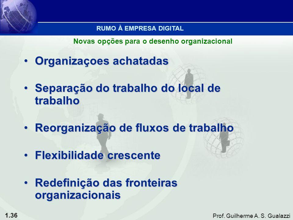 1.36 Prof. Guilherme A. S. Gualazzi Organizaçoes achatadasOrganizaçoes achatadas Separação do trabalho do local de trabalhoSeparação do trabalho do lo