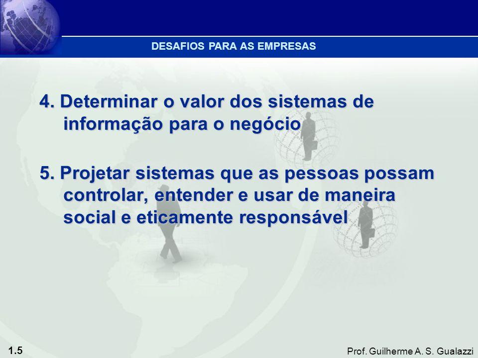 1.5 Prof. Guilherme A. S. Gualazzi 4. Determinar o valor dos sistemas de informação para o negócio 5. Projetar sistemas que as pessoas possam controla