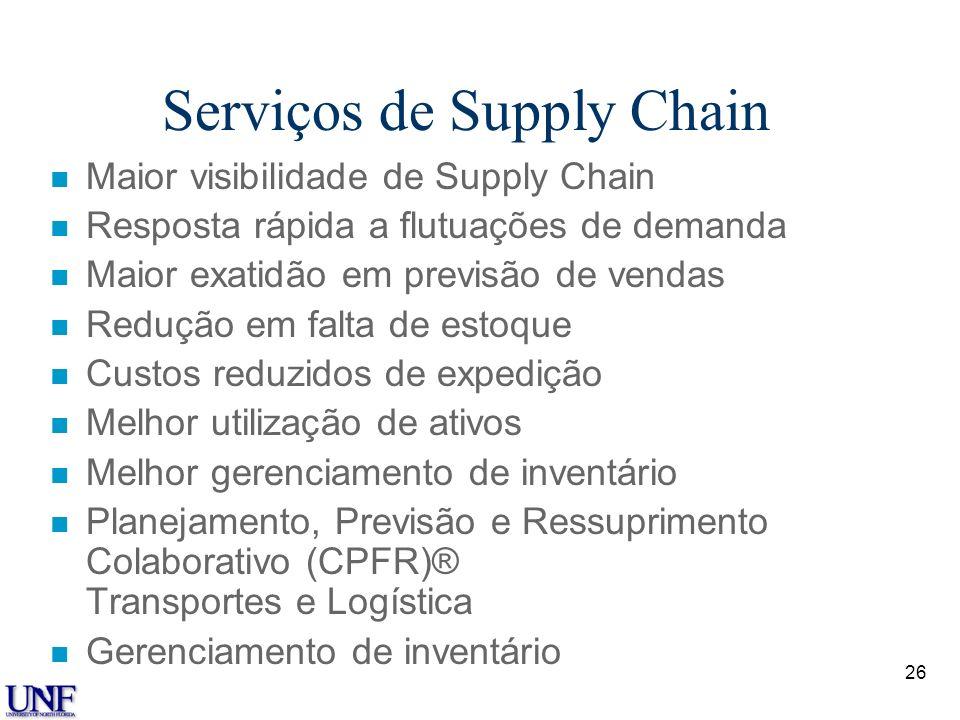 25 Serviços de Compras n Processamento de transações mais rápido e mais preciso n Maior visibilidade para compradores e vendedores em potencial n Rela