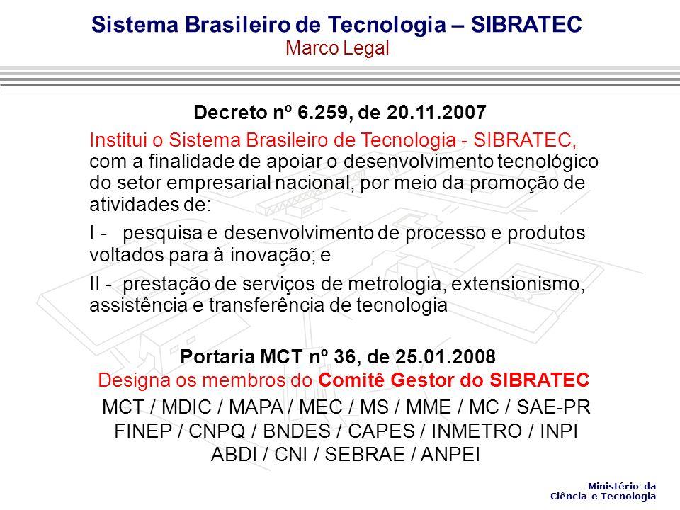 Decreto nº 6.259, de 20.11.2007 Designa os membros do Comitê Gestor do SIBRATEC Institui o Sistema Brasileiro de Tecnologia - SIBRATEC, com a finalidade de apoiar o desenvolvimento tecnológico do setor empresarial nacional, por meio da promoção de atividades de: I - pesquisa e desenvolvimento de processo e produtos voltados para à inovação; e II - prestação de serviços de metrologia, extensionismo, assistência e transferência de tecnologia Portaria MCT nº 36, de 25.01.2008 MCT / MDIC / MAPA / MEC / MS / MME / MC / SAE-PR FINEP / CNPQ / BNDES / CAPES / INMETRO / INPI ABDI / CNI / SEBRAE / ANPEI Sistema Brasileiro de Tecnologia – SIBRATEC Marco Legal Ministério da Ciência e Tecnologia