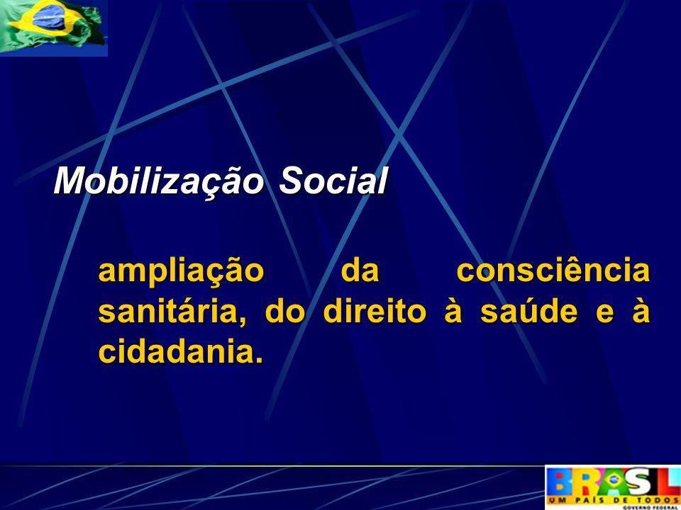 Mobilização Social ampliação da consciência sanitária, do direito à saúde e à cidadania.