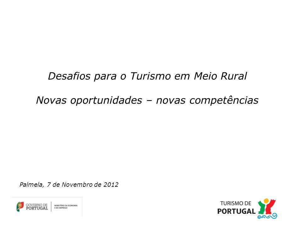 Desafios para o Turismo em Meio Rural Novas oportunidades – novas competências Palmela, 7 de Novembro de 2012