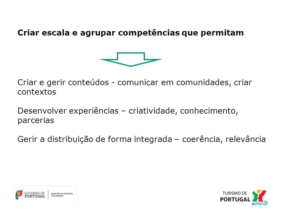 Criar e gerir conteúdos - comunicar em comunidades, criar contextos Desenvolver experiências – criatividade, conhecimento, parcerias Gerir a distribuição de forma integrada – coerência, relevância Criar escala e agrupar competências que permitam