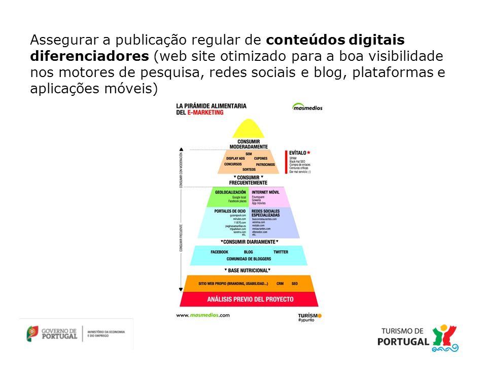 Assegurar a publicação regular de conteúdos digitais diferenciadores (web site otimizado para a boa visibilidade nos motores de pesquisa, redes sociais e blog, plataformas e aplicações móveis)