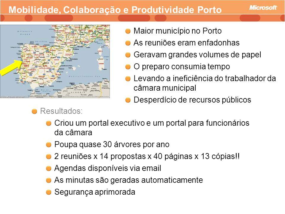 Mobilidade, Colaboração e Produtividade Porto Maior município no Porto As reuniões eram enfadonhas Geravam grandes volumes de papel O preparo consumia