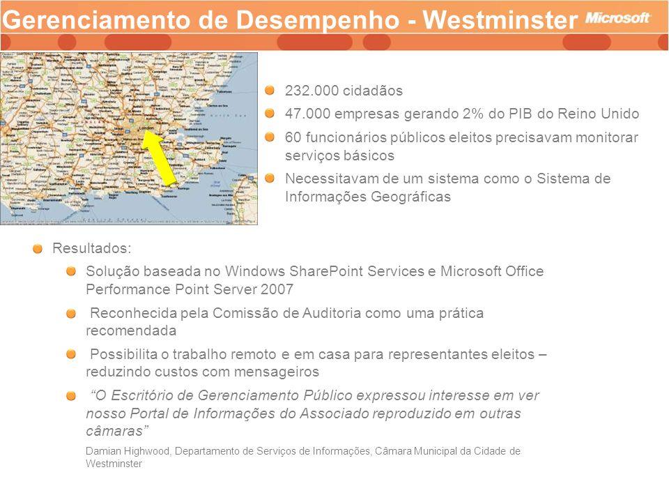 Gerenciamento de Desempenho - Westminster 232.000 cidadãos 47.000 empresas gerando 2% do PIB do Reino Unido 60 funcionários públicos eleitos precisava