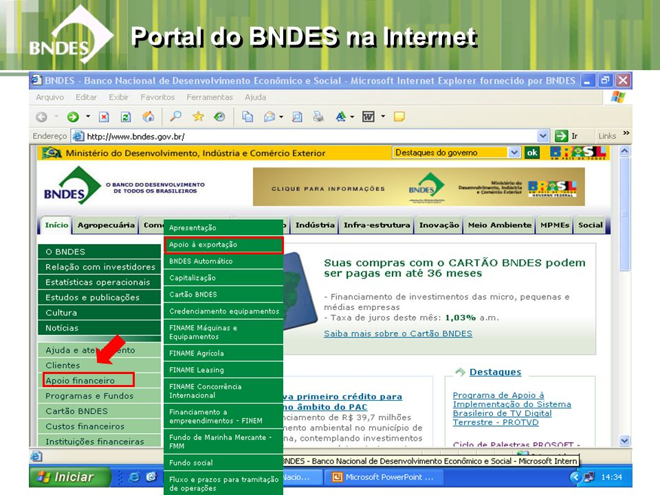 Portal do BNDES na Internet