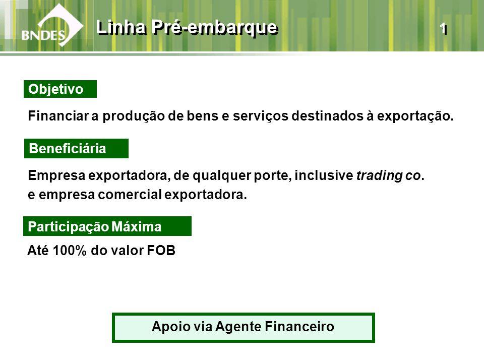 Linha Pré-embarque 1 Financiar a produção de bens e serviços destinados à exportação. Beneficiária Empresa exportadora, de qualquer porte, inclusive t