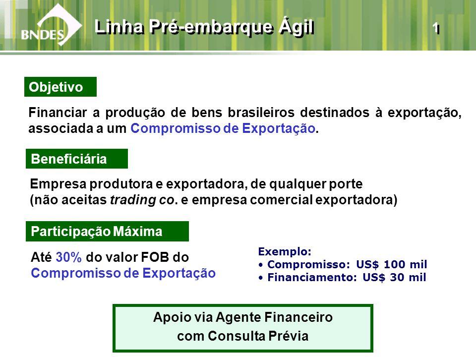 Financiar a produção de bens brasileiros destinados à exportação, associada a um Compromisso de Exportação. Beneficiária Empresa produtora e exportado