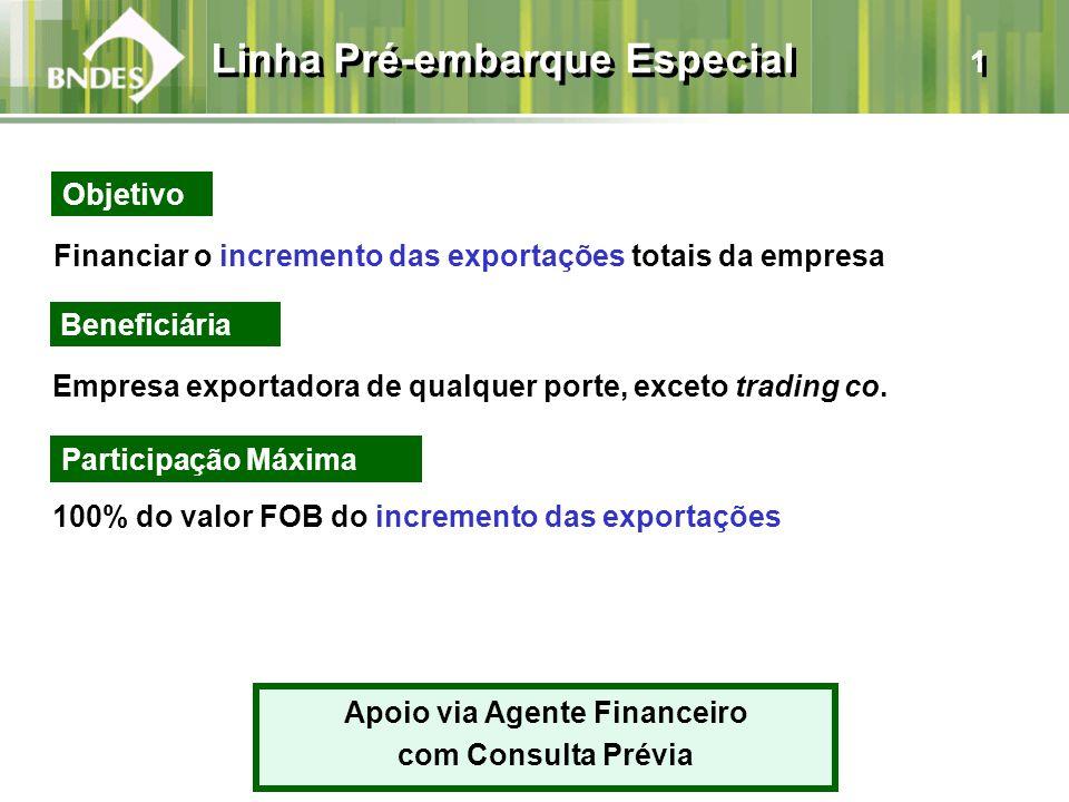 Financiar o incremento das exportações totais da empresa Beneficiária Empresa exportadora de qualquer porte, exceto trading co. 100% do valor FOB do i