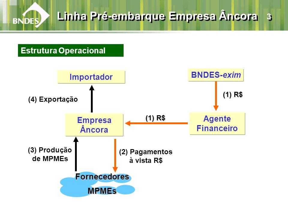 Agente Financeiro (4) Exportação (3) Produção de MPMEs Empresa Âncora (1) R$ (1) R$ BNDES-exim FornecedoresMPMEs (2) Pagamentos à vista R$ Importador (1) R$ (1) R$ Estrutura Operacional Linha Pré-embarque Empresa Âncora 3
