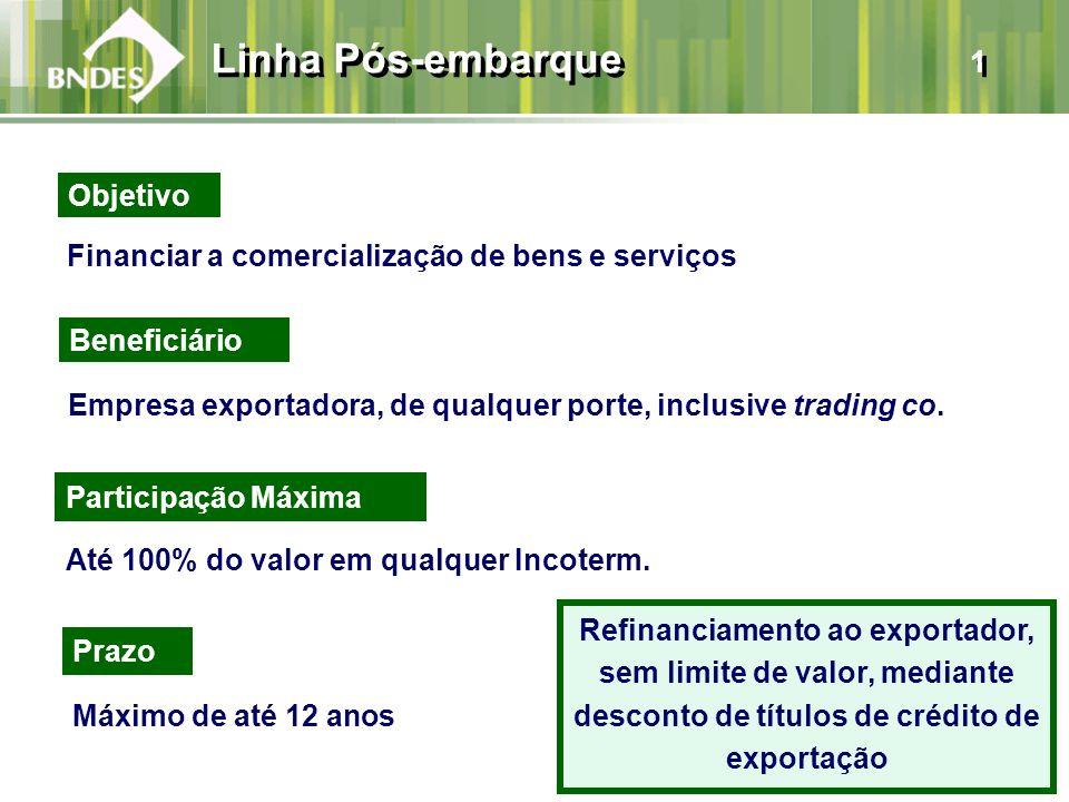 Linha Pós-embarque 1 Financiar a comercialização de bens e serviços Beneficiário Empresa exportadora, de qualquer porte, inclusive trading co. Prazo M