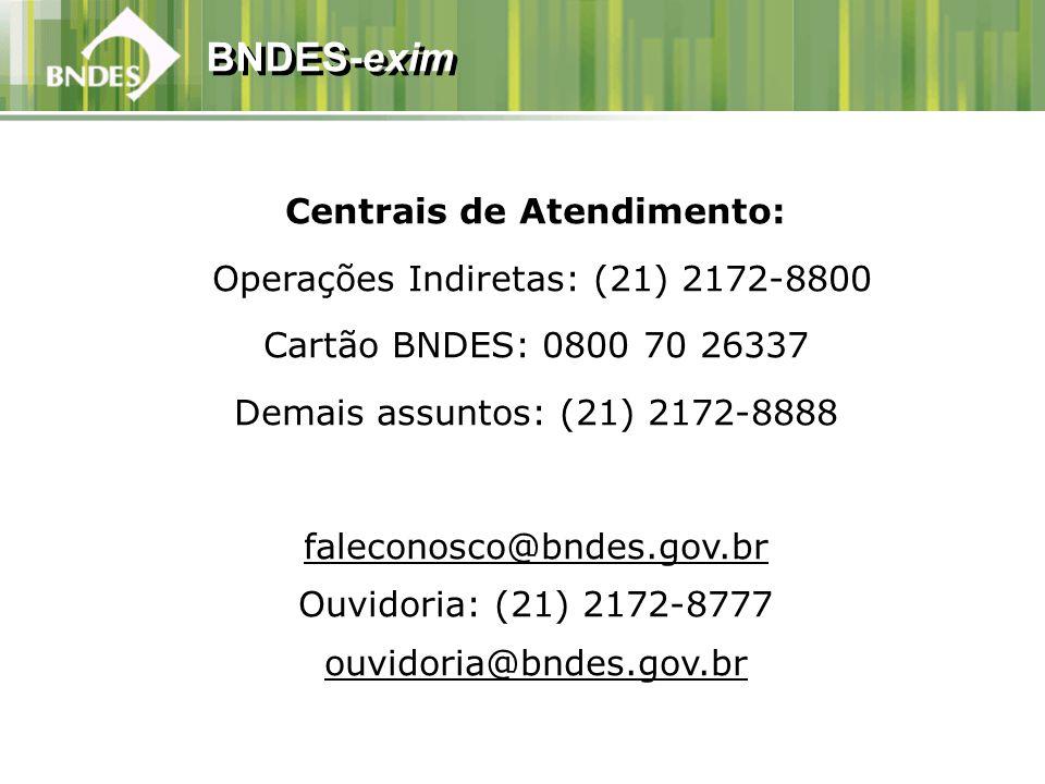 BNDES-exim Centrais de Atendimento: Operações Indiretas: (21) 2172-8800 Cartão BNDES: 0800 70 26337 Demais assuntos: (21) 2172-8888 faleconosco@bndes.gov.br Ouvidoria: (21) 2172-8777 ouvidoria@bndes.gov.br